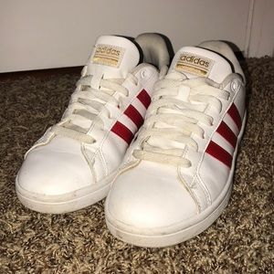 Red & white adidas cloud foam memory